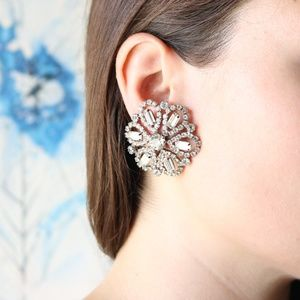 VINTAGE rhinestone snowflake earrings